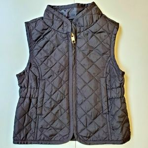 EUC Old Navy Black Quilted Vest Gold Zipper